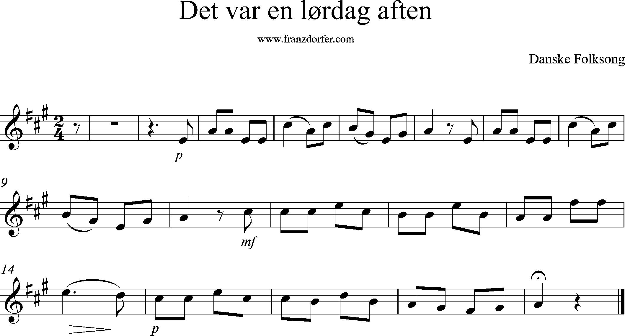 sheetmusic melody det var en lordag aften